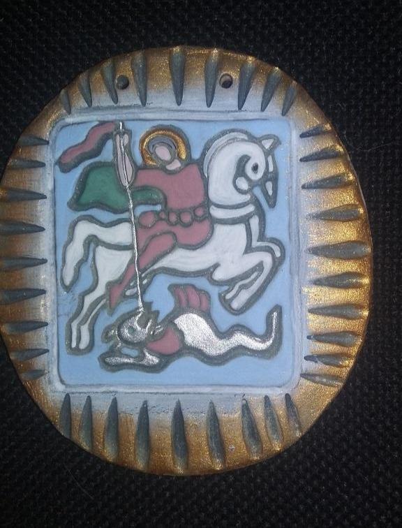 Мастер-класс по росписи глиняной плакетки  «ГЕОРГИЙ ПОБЕДОНОСЕЦ»